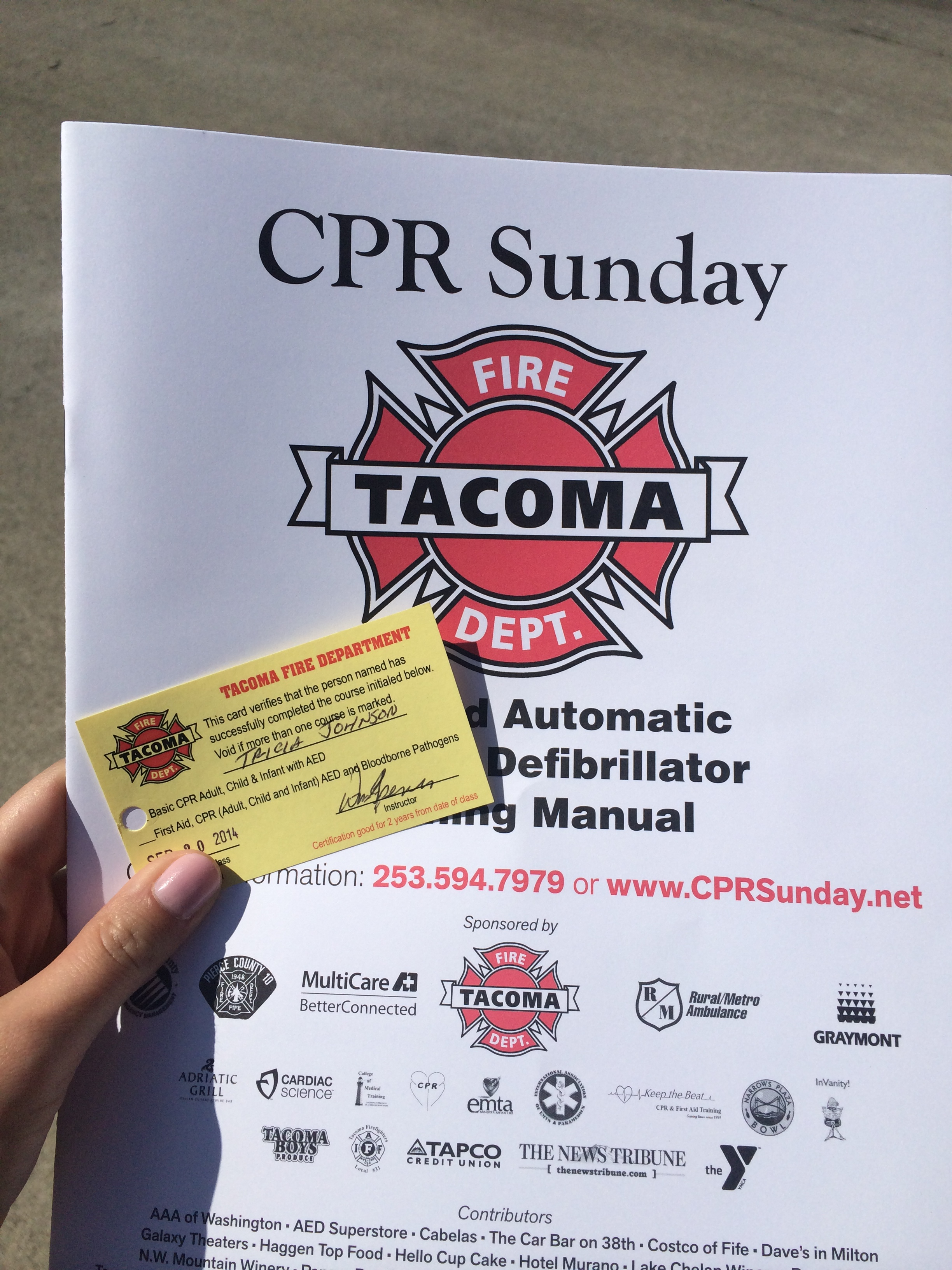 Cpr saturday ramblings a couple of dashes then we got our shiny new cpr certification cards yay im now certified to help you continue to breathe and not choke in the case of an emergency until xflitez Choice Image
