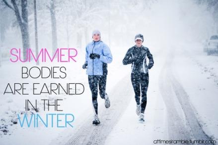 Two women run down Mountain Avenue in a snowstorm.